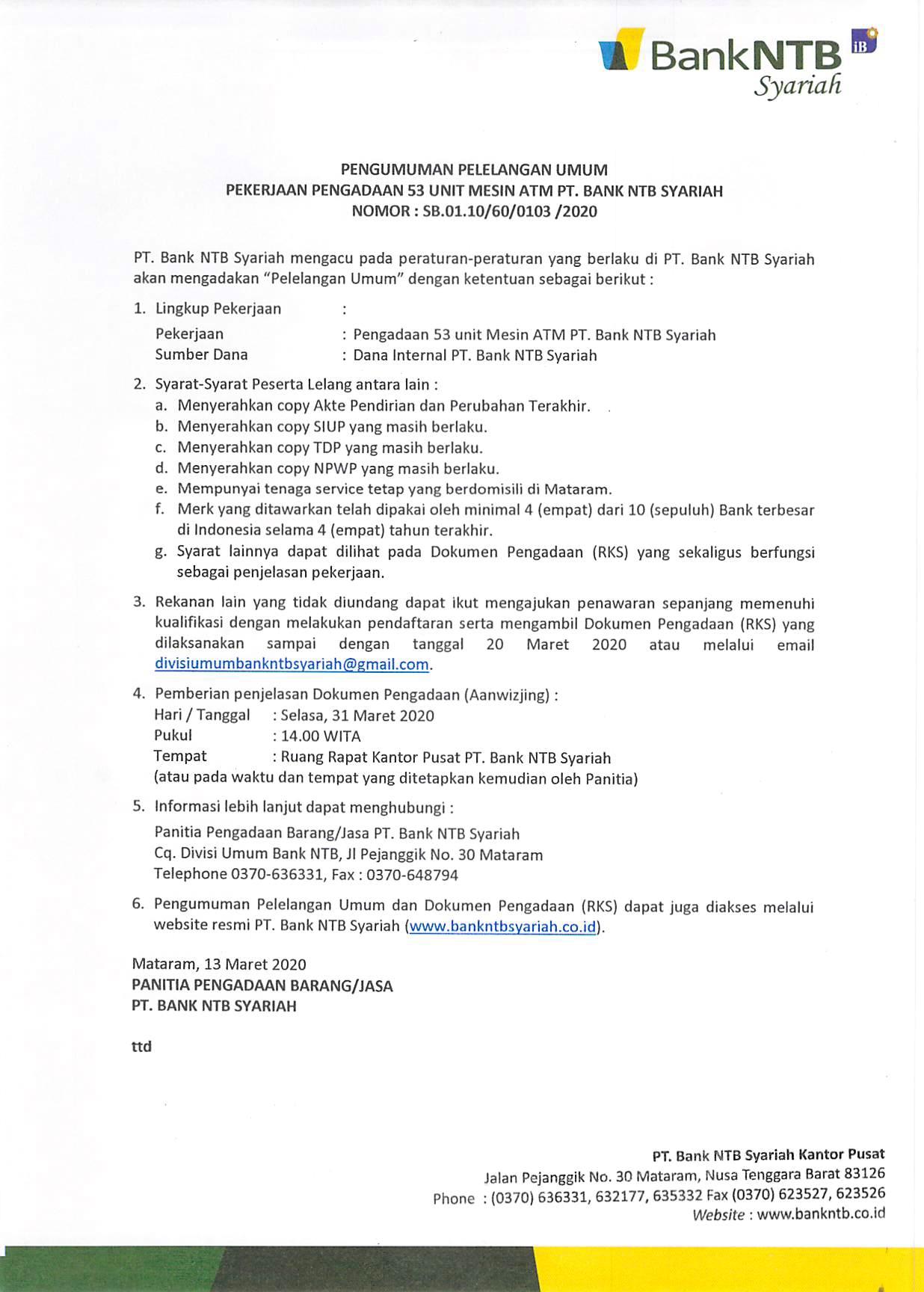 PENGUMUMAN-PELELANGAN-UMUM-PENGADAAN-53-UNIT-MESIN-ATM-PT-BANK-NTB-SYARIAH.html