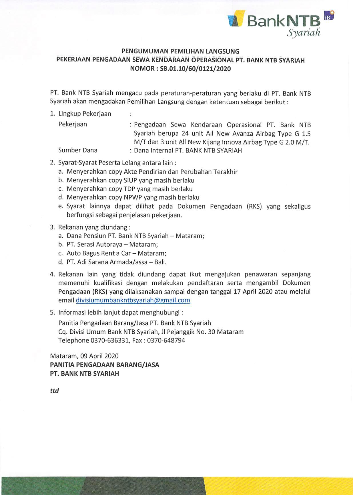 PENGUMUMAN-PEMILIHAN-LANGSUNG-PEKERJAAN-PENGADAAN-SEWA-KENDARAAN-OPERASIONAL-PT-BANK-NTB-SYARIAH-TH-2020.html